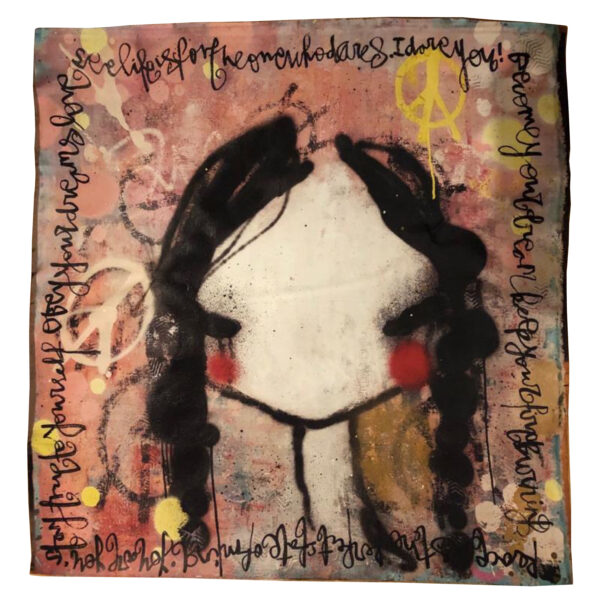 Silk scarf siden sjal Lisa Rinnevuo unik design julklappo