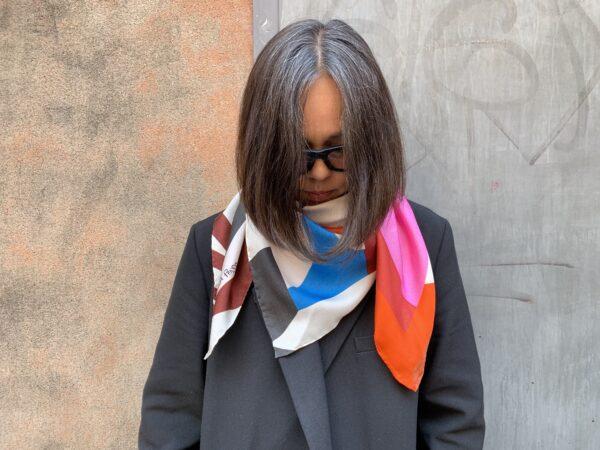 Silk scarf siden sjal Stina Persson unique design julklapp
